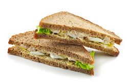 Rye bread sandwich with chicken and egg Royalty Free Stock Photos
