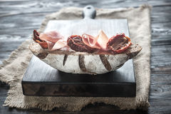 Rye bread sandwich with ham and sun-dried tomatoes Stock Photos