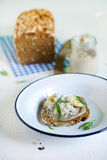 Rye bread sandwich with nut butter and banana for breakfast Royalty Free Stock Image