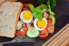 Rye bread sandwich with tuna fish, eggs, tomato and cucumber Stock Photography