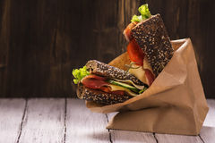 Rye bread sandwiches with ham, cheese and vegetables Royalty Free Stock Photography