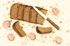 Rye bread and sausage Royalty Free Stock Photography