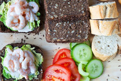 Rye bread, shrimp and salad platter Stock Image