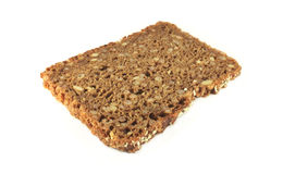 Rye bread slice on white royalty free stock photography