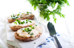 Rye bread slices with chicken pate spread stock image