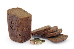 Rye bread in slices and coins. A white background Stock Images
