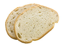 Rye bread slices on white. Rye bread slices on a white isolated background Stock Photos