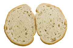 Rye bread slices on white. Rye bread slices side by side on a white isolated background Stock Photo