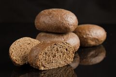 Rye bread on a table close up royalty free stock image