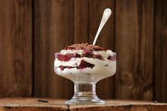 Rye bread tiramisu with cherries, chocolate and silver spoon on Royalty Free Stock Images