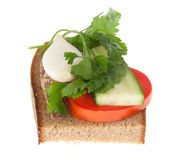 Rye-bread with tomato and canned fish Royalty Free Stock Photo