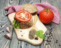Rye bread with tomato Stock Images