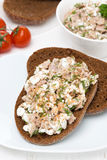Rye bread with tuna, homemade cheese and dill, vertical Stock Photos