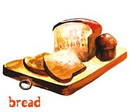 Rye bread. Watercolor image of rye bread on a cutting board with slices of bread vector illustration