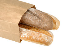 Rye bread and wheat bread in paper bag Stock Photo