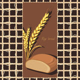 Rye bread and wheat ears on the abstract background. Label. Illustration Stock Photos