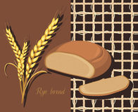 Rye bread and wheat ears. Label for design Stock Photos
