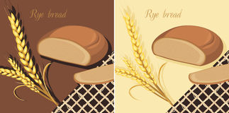 Rye bread and wheat ears. Labels for design Royalty Free Stock Images