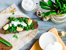 Rye bread with wild garlic, sour cream and quail eggs, snack, to Royalty Free Stock Image