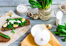 Rye bread with wild garlic, sour cream and quail eggs,top view Royalty Free Stock Images