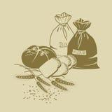 Rye-Brot, Toastbrot, Weizen und Säcke Mehl Lizenzfreies Stockfoto