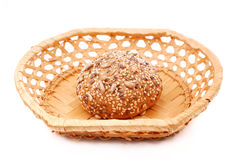 Rye bun in a basket Stock Images