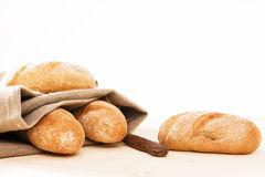 Rye buns with a linen textile Royalty Free Stock Image