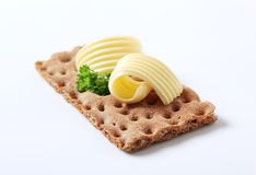 Rye cracker and butter Royalty Free Stock Image