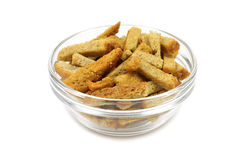 Rye crackers in glass bowl Stock Image