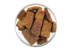 Rye crackers in glass cup Royalty Free Stock Image