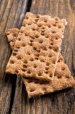 Rye Crisp Bread. On wooden background royalty free stock images