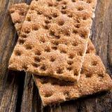 Rye Crisp Bread. On wooden background stock photos