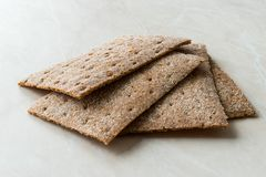 Rye Crispbread made with Sourdough / Cereal Crunchy Multigrain Cereal Flax seeds Protein Bread. Bar for Workout royalty free stock image