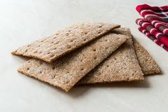 Rye Crispbread made with Sourdough / Cereal Crunchy Multigrain Cereal Flax seeds Protein Bread. Bar for Workout stock photography