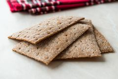 Rye Crispbread made with Sourdough / Cereal Crunchy Multigrain Cereal Flax seeds Protein Bread. Bar for Workout royalty free stock photo