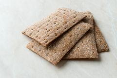 Rye Crispbread made with Sourdough / Cereal Crunchy Multigrain Cereal Flax seeds Protein Bread. Bar for Workout royalty free stock images