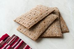 Rye Crispbread made with Sourdough / Cereal Crunchy Multigrain Cereal Flax seeds Protein Bread. Bar for Workout stock image