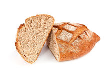 Rye dark bread with bran. Isolated on white background Royalty Free Stock Photography