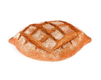 Rye dark bread with bran. Isolated on white background Stock Photo