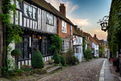 Rye in East Sussex. A beautiful cobbled street in the historic town of Rye in East Sussex royalty free stock photo