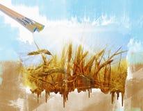 Rye field on a beautiful sunny sky background