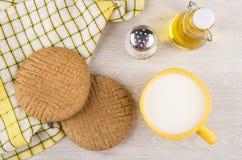 Rye Flatbreads, Salt, Bottle Vegetable Oil And Cup Of Milk Stock Image