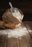Rye flour in brown paper bag. Royalty Free Stock Image