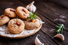 Rye flour buns with Schwarzwald ham, garlic, cumin, rosemary and Himalayan salt Royalty Free Stock Images