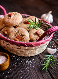 Rye flour buns with Schwarzwald ham, garlic, cumin, rosemary and Himalayan salt Stock Photos