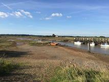 Rye-Hafenboote im Fluss bunt Stockfotografie