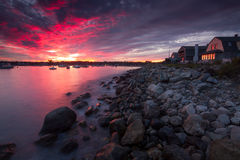 Rye Harbor Red Sky at Night Royalty Free Stock Image