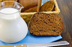 Rye homemade bread with milk Royalty Free Stock Photos