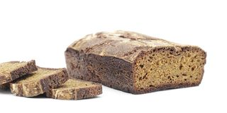 Rye homemade cut bread on white,  Royalty Free Stock Image