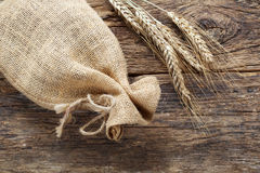 Rye with a linen bag Royalty Free Stock Images